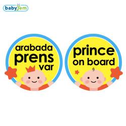 Babyjem - Babyjem Araba Cam Yazısı Arabada Prens Var Mavi