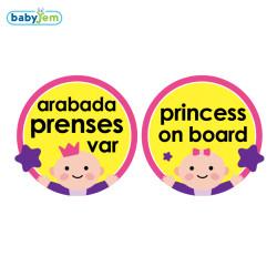 Babyjem - Babyjem Araba Cam Yazısı Arabada Prenses Var Pembe