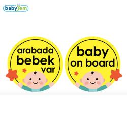 Babyjem - Babyjem Araba Cam Yazısı Dikkat Bebek Var Sarı
