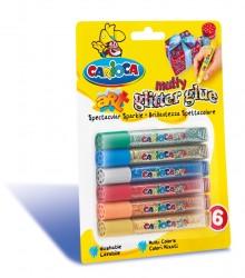 Carioca - Carioca Yıkanabilir Simli Tutkal Boya 6 Adet Tüp x 10,5 mL