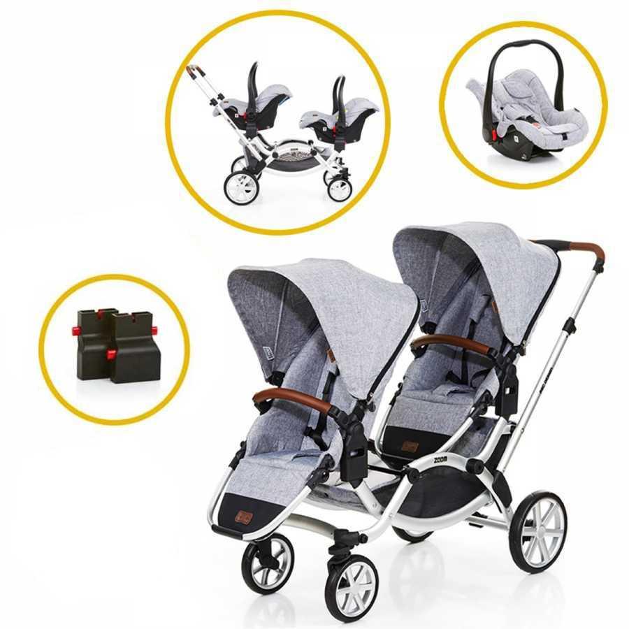 ABC Design Zoom İkiz Bebek Arabası 2019 Model + 2 Ana Kucağı + 2 Adaptör