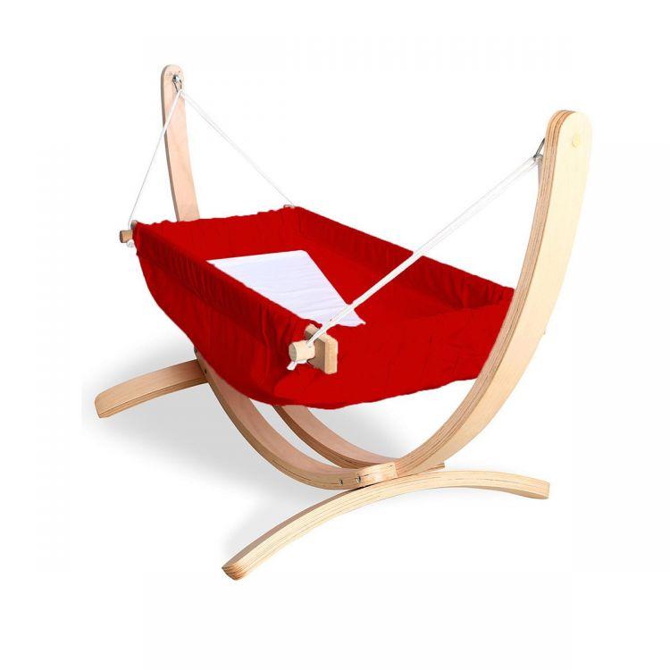 Bliss - Ahşap Standlı Bebek Hamağı Kırmızı