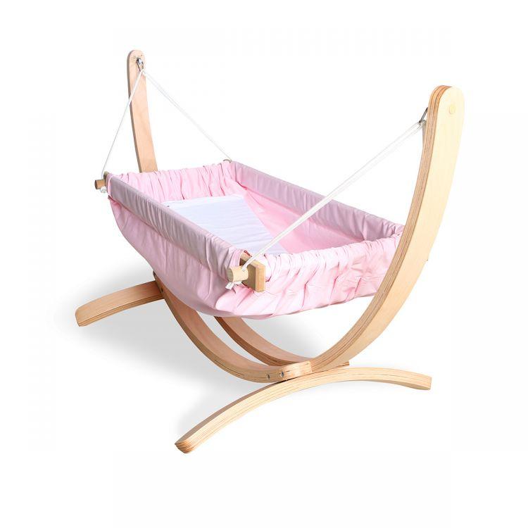 Bliss - Ahşap Standlı Bebek Hamağı Pembe