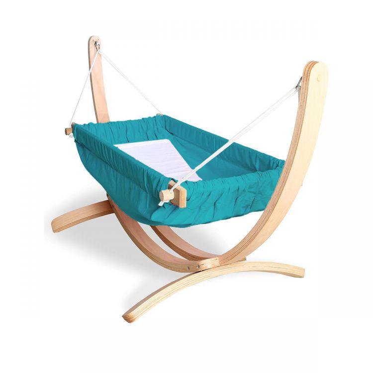 Bliss - Ahşap Standlı Bebek Hamağı Mavi