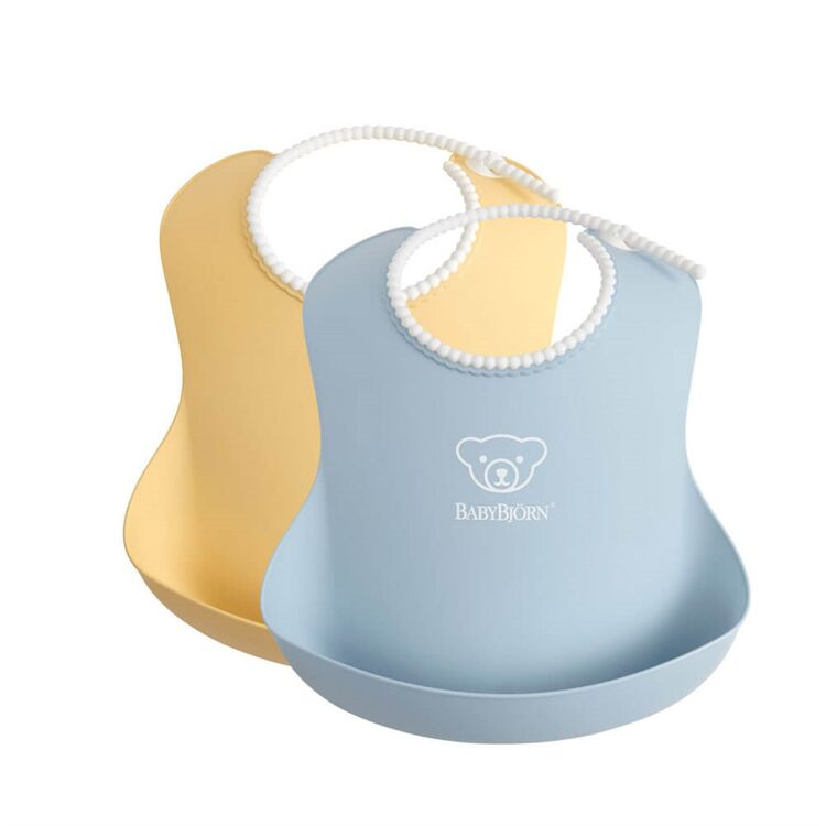 BabyBjörn - BabyBjörn 2´li Yumuşak Plastik Mama Önlüğü Powder Yellow / Blue