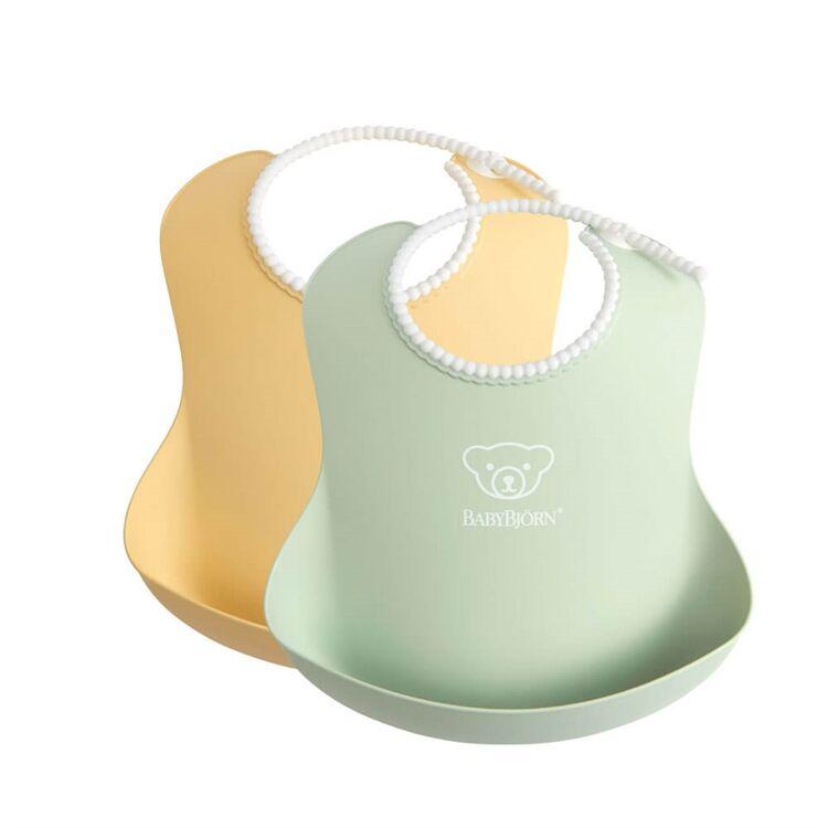 BabyBjörn - BabyBjörn 2´li Yumuşak Plastik Mama Önlüğü Powder Yellow / Green