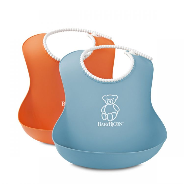 BabyBjörn - BabyBjörn Yumuşak Plastik Mama Önlüğü / Orange-Turguoise 2´li