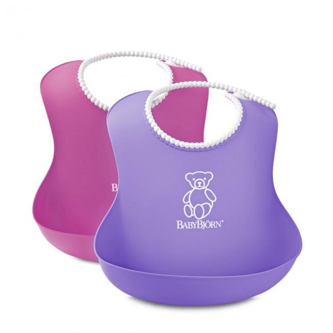 BabyBjörn - BabyBjörn Yumuşak Plastik Mama Önlüğü / Pink-Purple 2´li