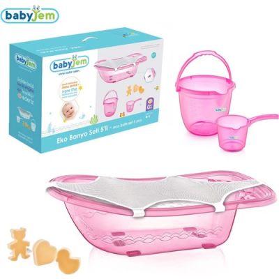 Babyjem - Babyjem Bebek Banyo Seti 5 Parça Pembe