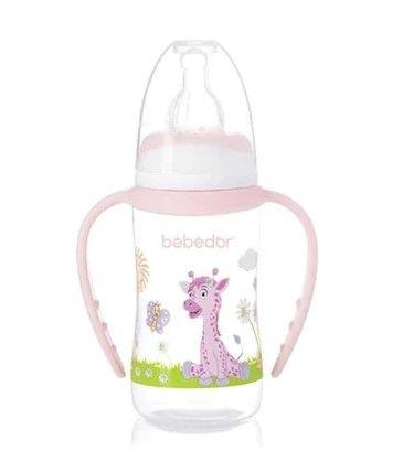 Bebedor - Bebedor Desenli Ergonomik Kulplu Biberon 125 ml 0+ Ay Pembe
