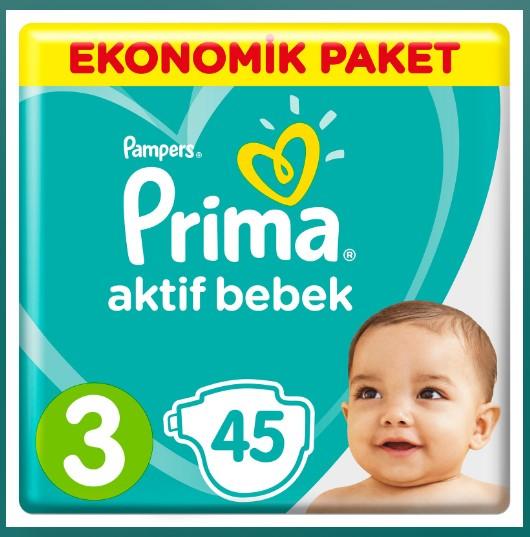 Prima - Bebek Bezi Aktif Bebek 3 Beden Midi Ekonomik Paket 6-10 kg45 Adet