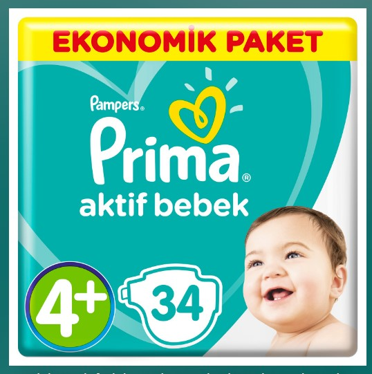 Prima - Bebek Bezi Aktif Bebek 4+ Beden Maxi Plus Ekonomik 10-15 kg34 Adet