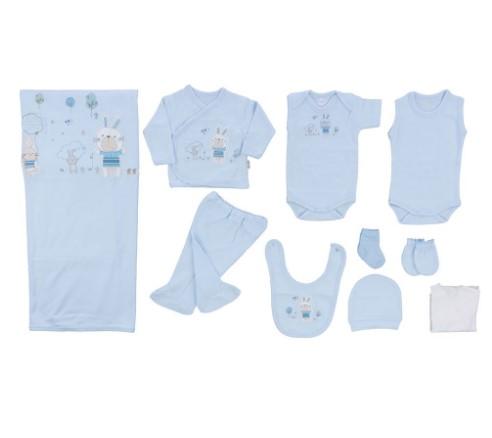 Bebitof - Bebitof Tavşan Nakışlı 10 Lu Hastane Çıkışı Mavi