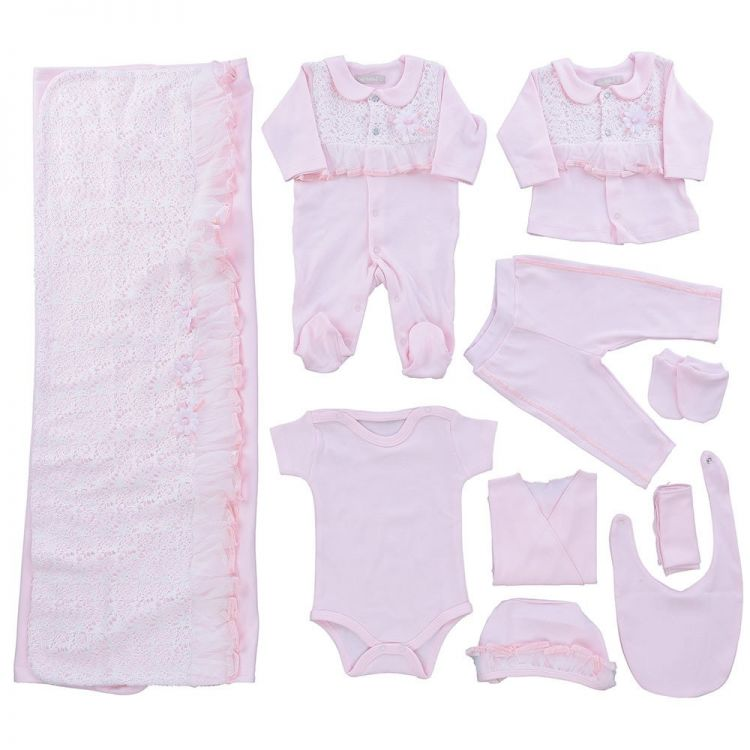 Bip Baby - Bip Baby Güpürlü Çiçekli Kız Bebek 10'lu Hastane Çıkışı Pembe