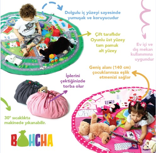 Bohcha Erkek- Otoban, Oyuncak Torbası - Thumbnail