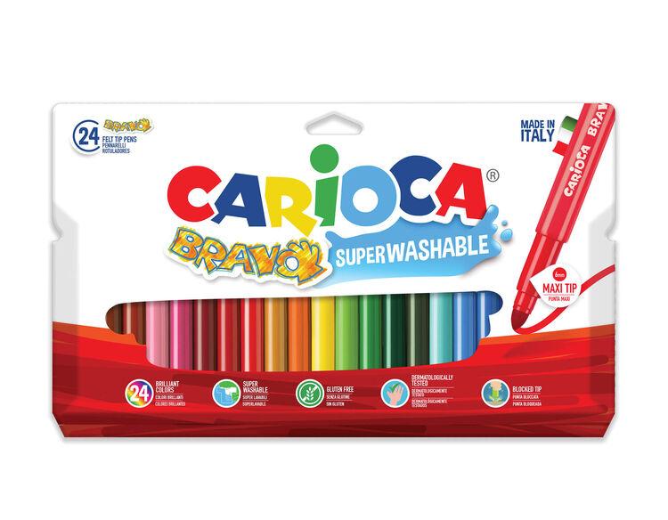 Carioca - Carioca Bravo Süper Yıkanabilir Kalın Uçlu Keçeli Boya Kalemi 24'lü
