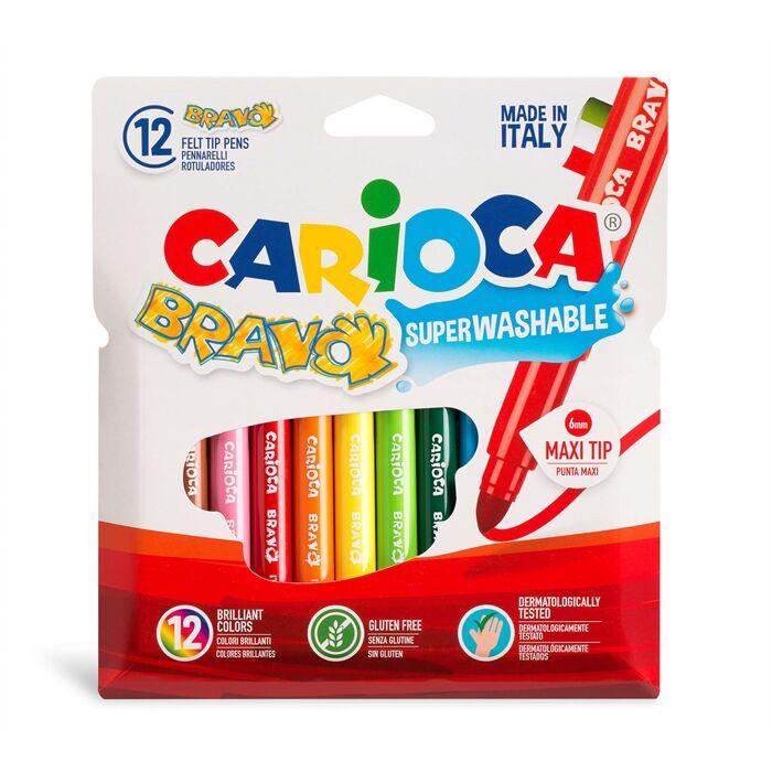 Carioca - Carioca Bravo Süper Yıkanabilir Kalın Uçlu Keçeli Boya Kalemi 12'li