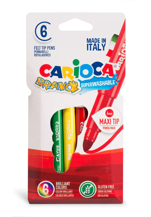 Carioca - Carioca Bravo Süper Yıkanabilir Kalın Uçlu Keçeli Boya Kalemi 6'lı