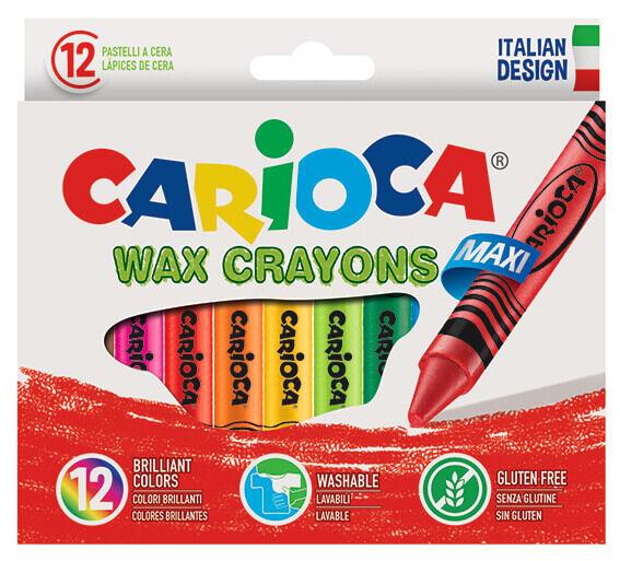 Carioca - Carioca Jumbo Elleri Kirletmeyen Yıkanabilir Pastel Boya Kalemi 24lü
