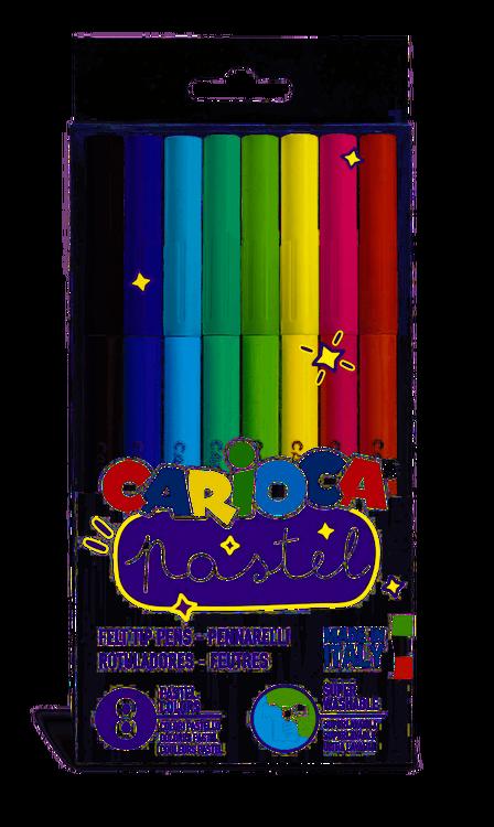 Carioca - Carioca Pastel Renkler Süper Yıkanabilir Keçeli Boya Kalemi 8'li