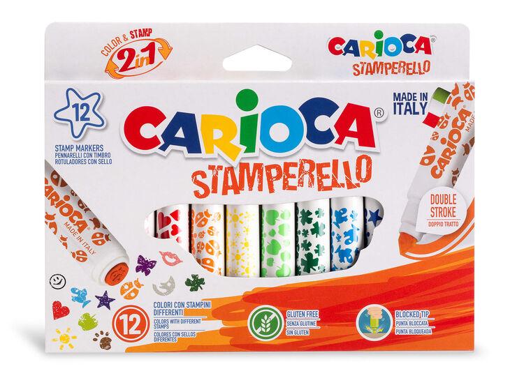 Carioca - Carioca Stamperello Yıkanabilir Keçeli Boya Kalemi 12'li (Bir Ucu Keçeli Kalem, Bir Ucu Damga)