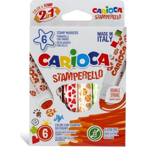 Carioca - Carioca Stamperello Yıkanabilir Keçeli Boya Kalemi 6'lı (Bir Ucu Keçeli Kalem, Bir Ucu Damga)