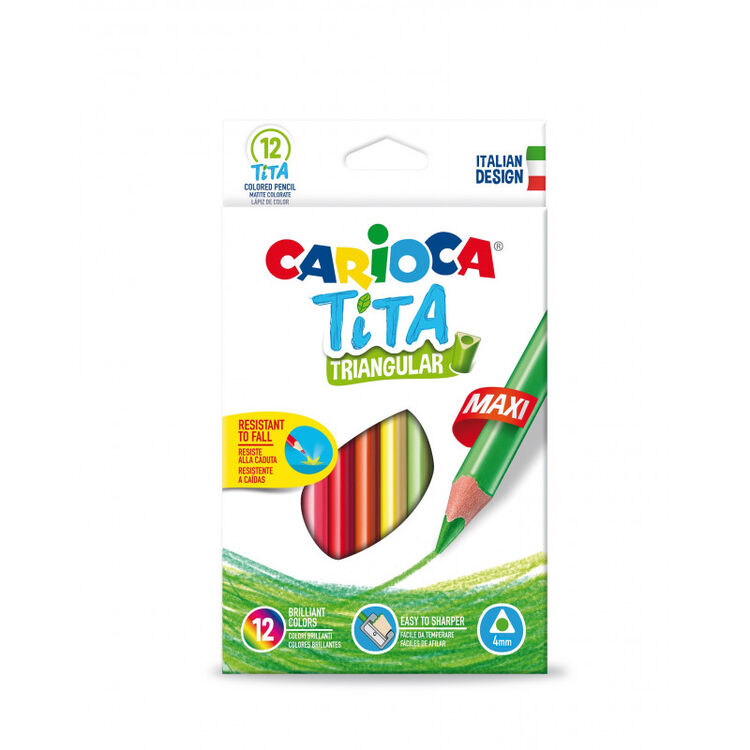 Carioca - Carioca Tita Jumbo Üçgen Kuru Boya Kalemi 12'li