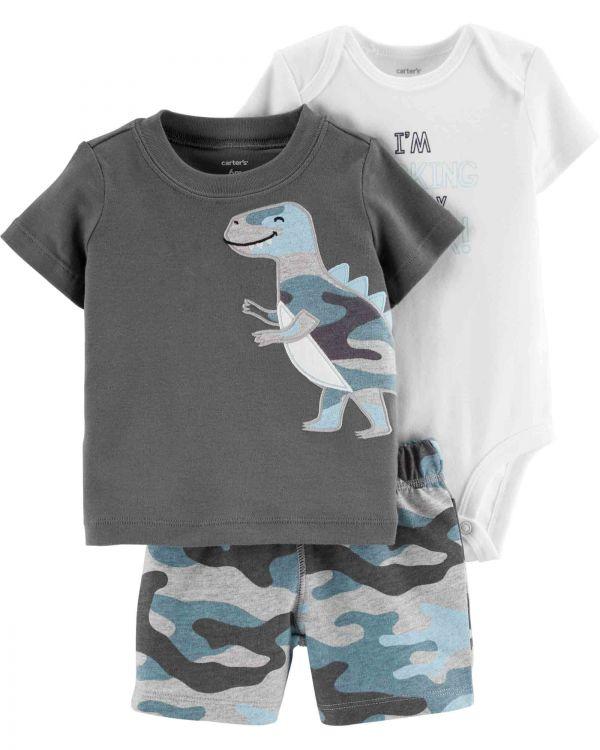 Carter′s - Carter's Erkek Bebek 3'lü Dinozor Desenli Kamuflaj Set