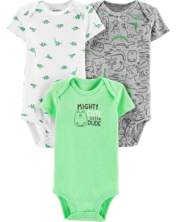 Carter′s - Carter's Erkek Bebek 3'lü Sevimli Dinozor Desenli Body