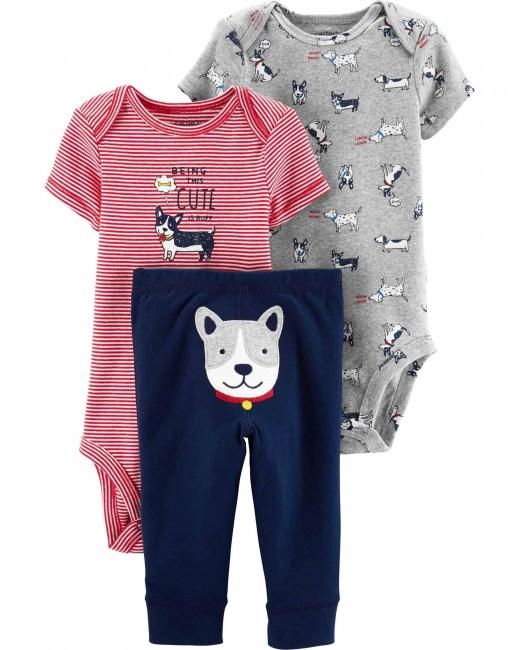 Carter′s - Carter's Erkek Bebek 3'lü Sevimli Köpek Desenli Set