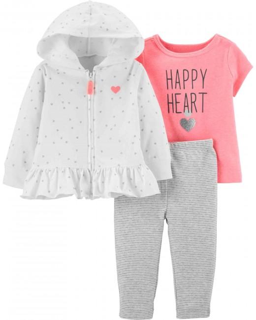 Carter′s - Carter's Kız Bebek 3'lü Kalp Desenli Set
