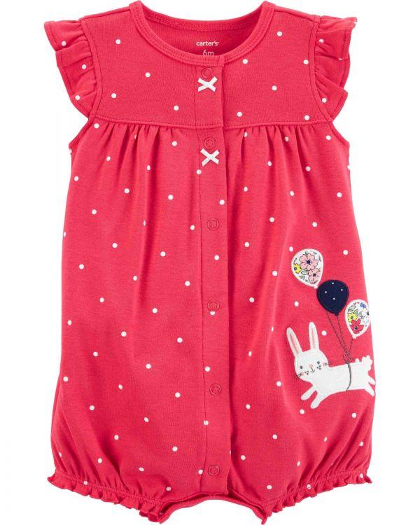 Carter′s - Carter's Kız Bebek Balonlu Tavşan Desenli Puantiyeli Yazlık Tulum