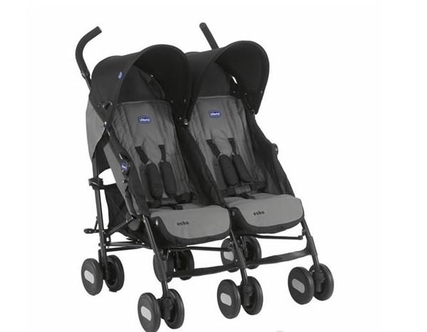 Chicco - Chicco Echo Baston İkiz Bebek Arabası Coal