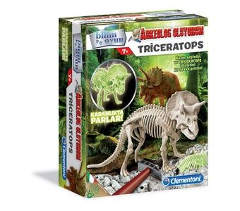 Clementoni - Clementoni Arkeolojik Kazı Seti - Triceratops (Floresan) (7YAŞ+)
