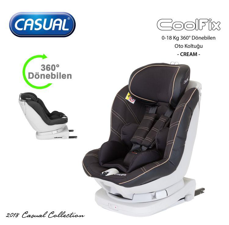 Casual - CoolFix 0-18 Kg 360° Dönebilen Isofix'li Oto Koltuğu - Cream