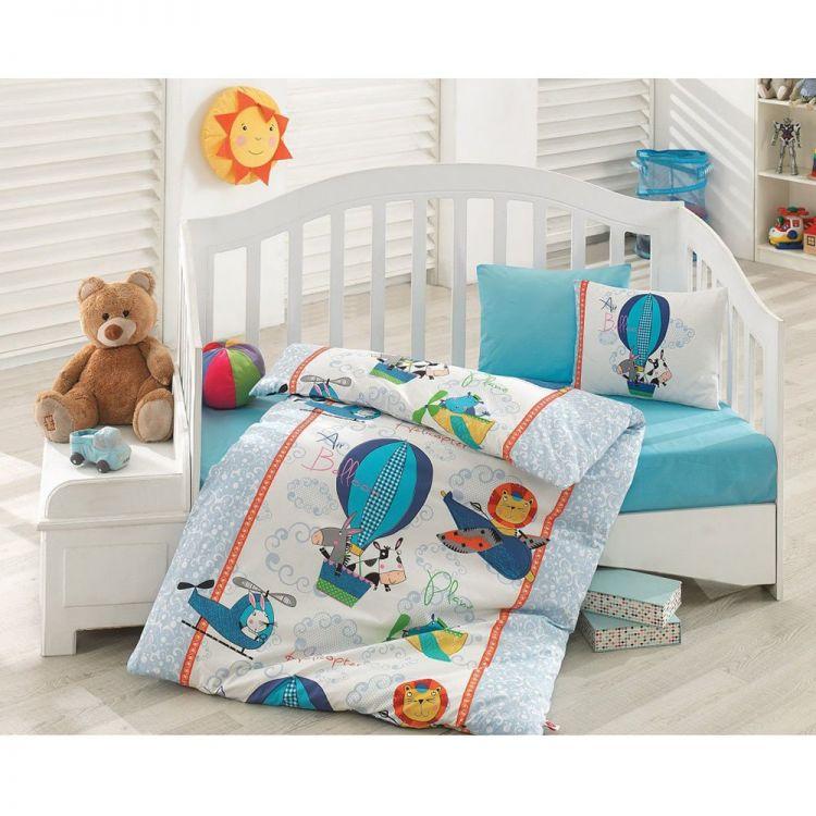 Cottonbox - Cotton Box Uçan Dostlar Bebek Nevresim Takımı Mavi