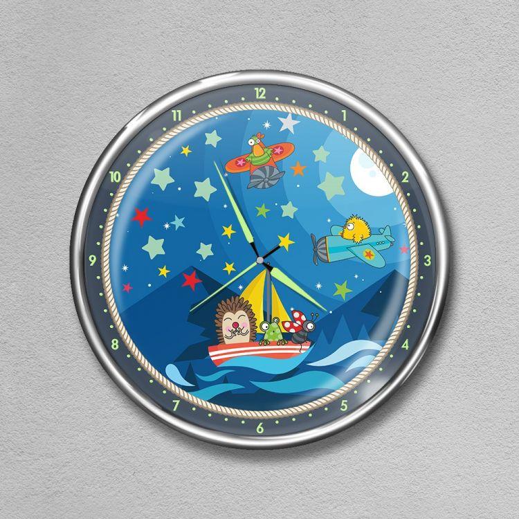 DekorLoft - Dekor Loft Premium Gece Parlayan Çocuk Odası Duvar Saati FS-1518