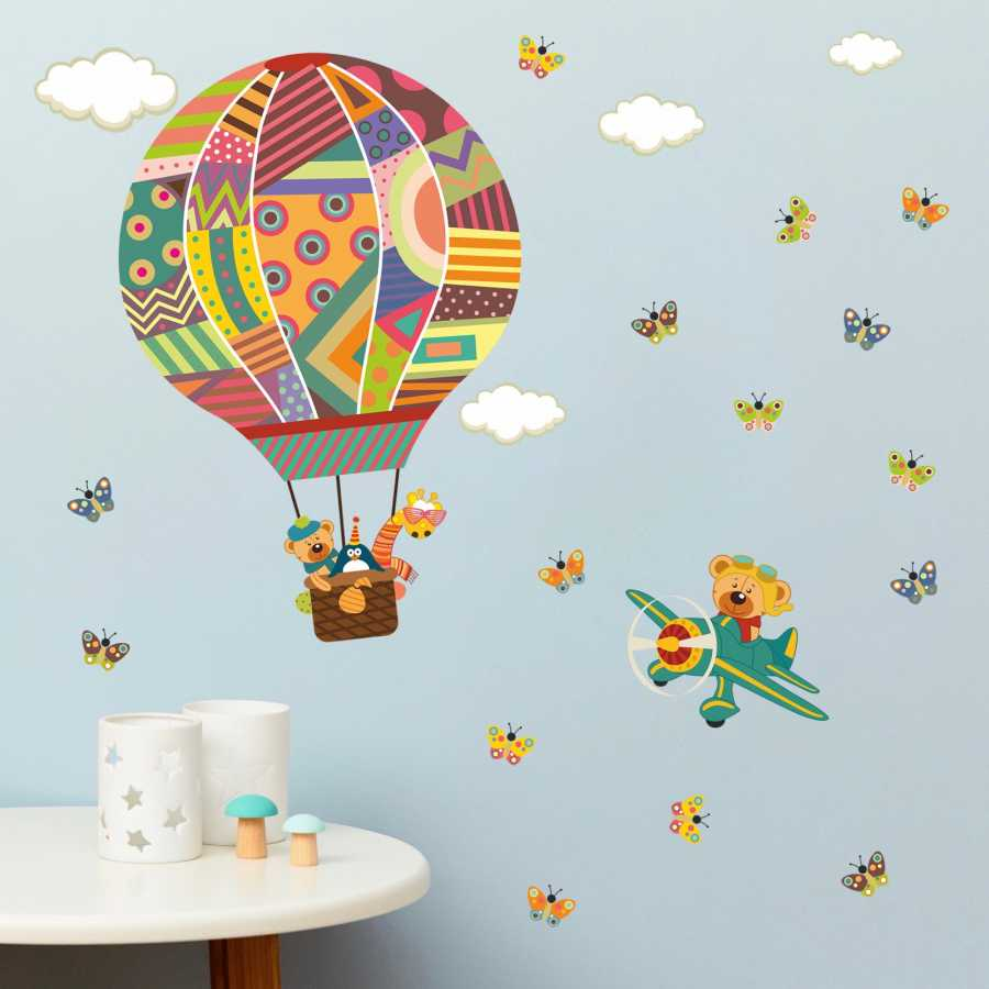 En Ucuz Dekor Loft Rengarenk Ucan Balon Cocuk Odasi Duvar Sticker