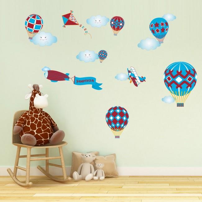 DekorLoft - Dekor Loft Şampiyon Uçan Balonlar Çocuk Odası Duvar Sticker CS-624 Bordo Mavi