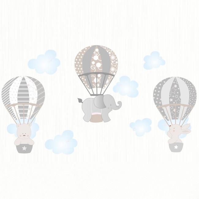 DekorLoft - Dekor Loft Uçan Sevimli Hayvanlar Çocuk Odası Duvar Sticker CS-629 Gri