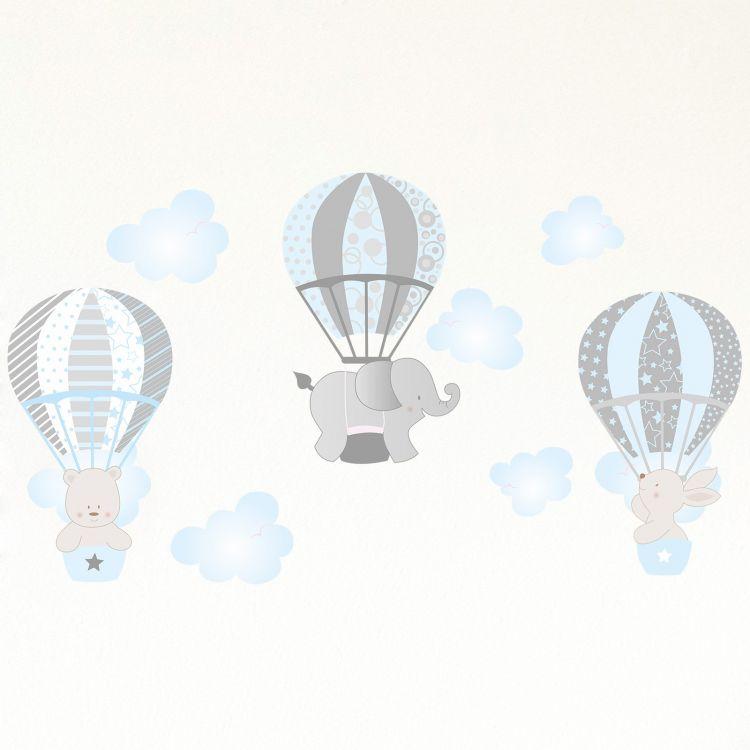 DekorLoft - Dekor Loft Uçan Sevimli Hayvanlar Çocuk Odası Duvar Sticker CS-629 Mavi