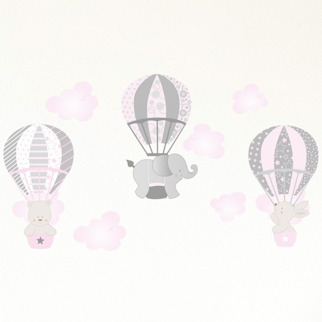 DekorLoft - Dekor Loft Uçan Sevimli Hayvanlar Çocuk Odası Duvar Sticker CS-629 Pembe