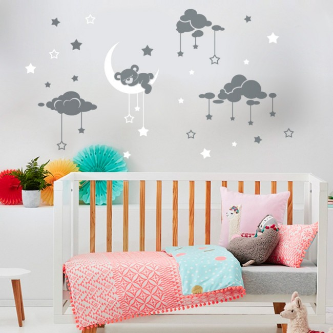 DekorLoft - Dekor Loft Uyuyan Ayıcık Çocuk Odası Duvar Sticker CS-621 Gri