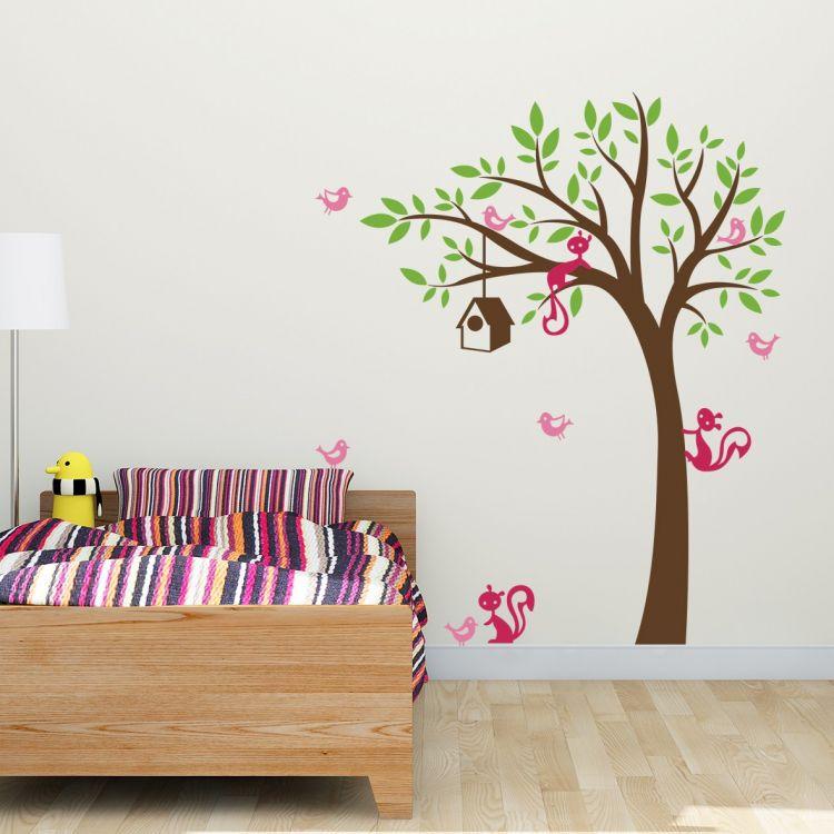 DekorLoft - DekorLoft Ağaç Ve Sincaplar Çocuk Odası Sticker CS-504