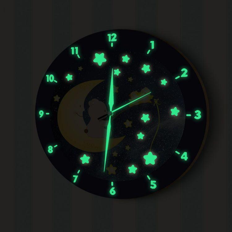 DekorLoft - DekorLoft Aydede ve Sevimli Aycık Fosforlu Çocuk Odası Duvar Saati YFS-1451