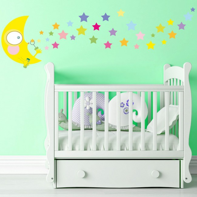 DekorLoft - DekorLoft Aydede ve Yıldızlar Çocuk Odası Duvar Sticker CS-219