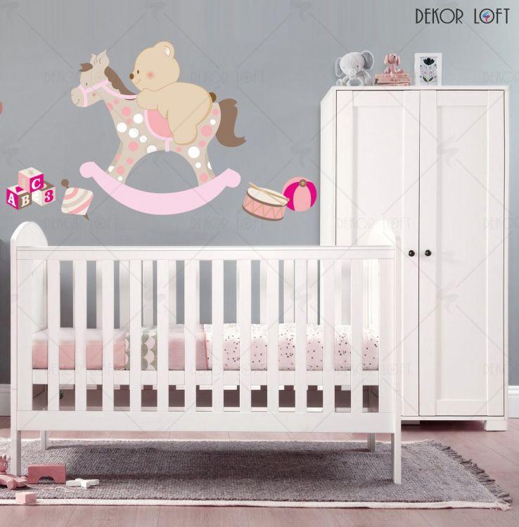 DekorLoft - DekorLoft Ayıcık ve Sallanan At Çocuk Odası Duvar Sticker CS-217 Pembe