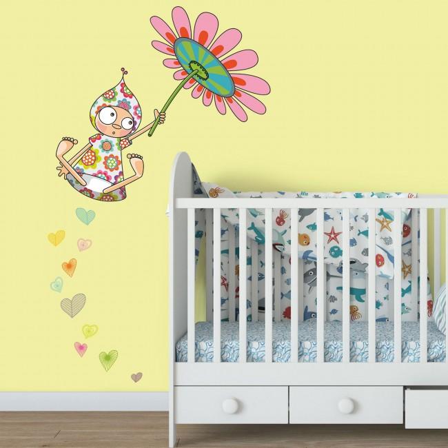 DekorLoft - DekorLoft Çiçek Kız Çocuk Odası Duvar Sticker CS-321