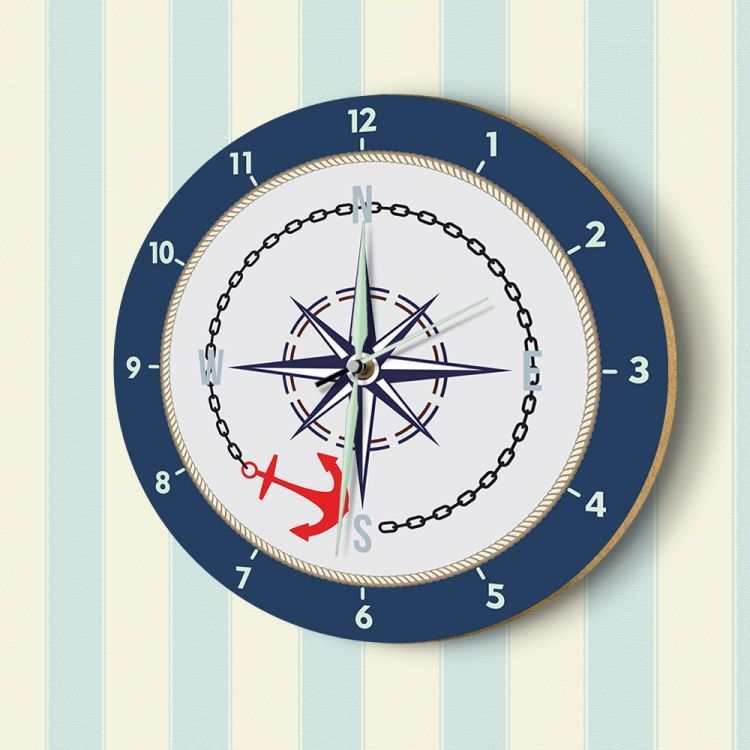 DekorLoft - DekorLoft Denizci Fosforlu Çocuk Odası Duvar Saati YFS-1433