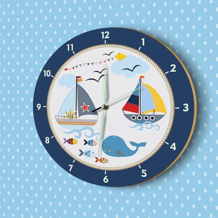 DekorLoft - DekorLoft Denizci Fosforlu Çocuk Odası Duvar Saati YFS-1434